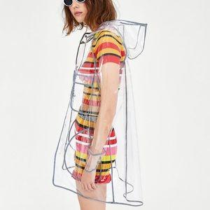 Zara Trf clear plastic raincoat size s/m